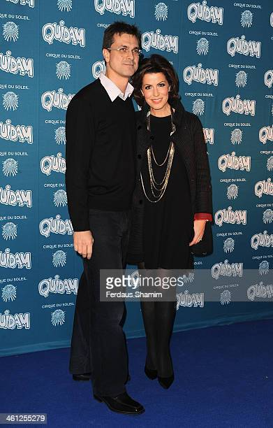 Justin Bower and Natasha Kaplinsky attend the VIP night for Cirque Du Soleil Quidam at Royal Albert Hall on January 7 2014 in London England