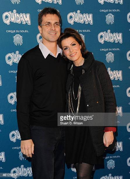 Justin Bower and Natasha Kaplinsky attends the Cirque Du Soleil Quidam opening night at the Royal Albert Hall on January 7 2014 in London England