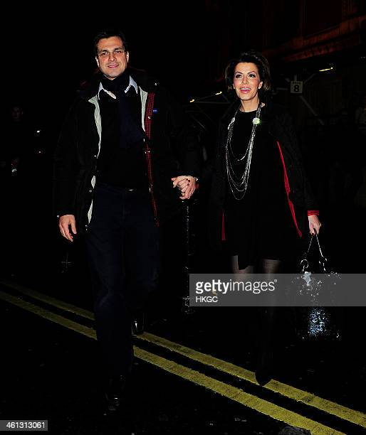 Justin Bower and Natasha Kaplinsky attends the 'Cirque Du Soleil Quidam' opening night at the Royal Albert Hall on January 7 2014 in London England