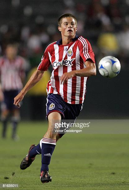 Justin Braun of CD Chivas USA breaks in alone on goal against Real Salt Lake in the second half during their MLS game at the Home Depot Center on...