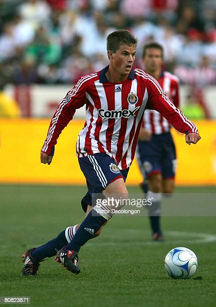 Justin Braun of CD Chivas USA moves the ball near midfield against FC Dallas during their MLS game at the Home Depot Center on April 20 2008 in...