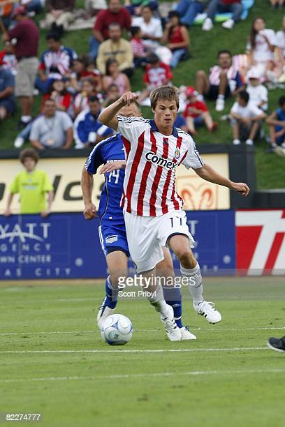 Justin Braun of Chivas USA dribbles against the Kansas City Wizards during the game at Community America Ballpark on August 9 2008 in Kansas City...