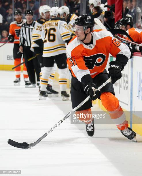 Justin Braun of the Philadelphia Flyers skates the puck against the Boston Bruins on March 10 2020 at the Wells Fargo Center in Philadelphia...
