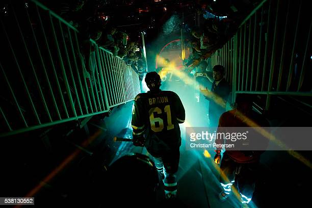 Justin Braun of the San Jose Sharks enters the ice before play against the Pittsburgh Penguins in Game Three of the 2016 NHL Stanley Cup Final at SAP...