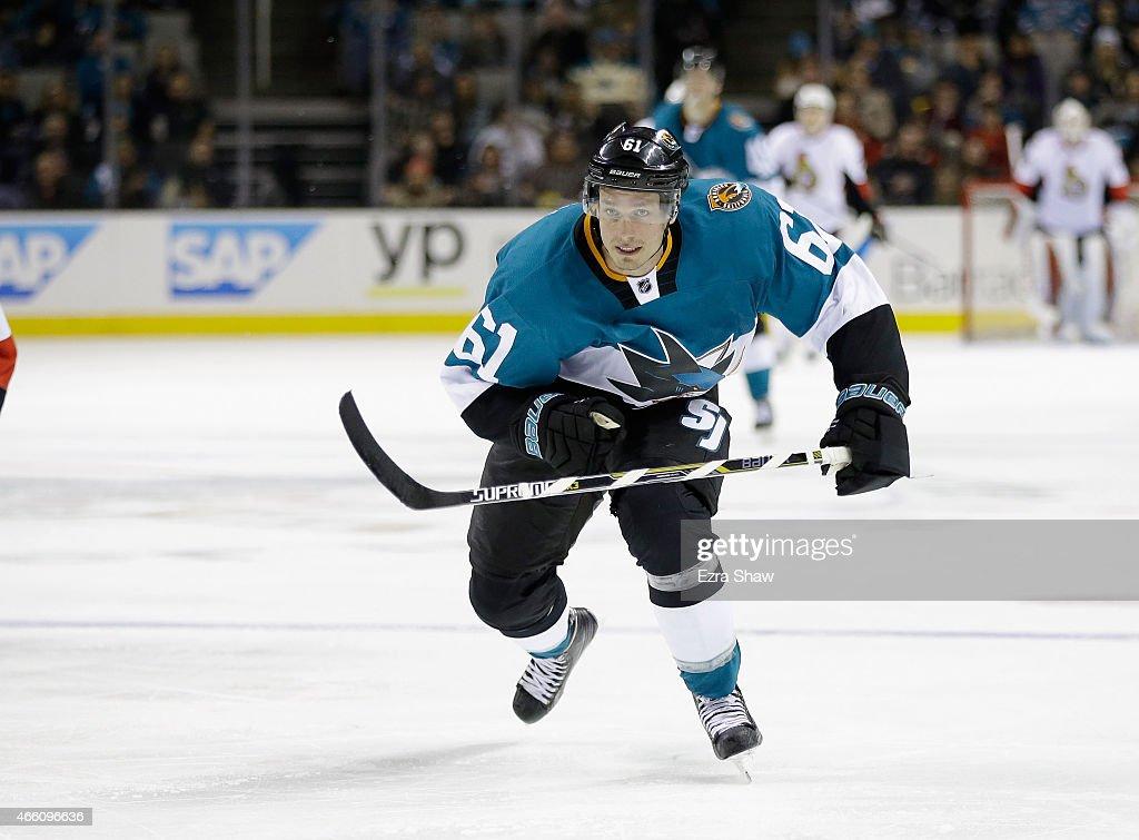 Justin Braun #61 of the San Jose Sharks in action against the Ottawa Senators at SAP Center on February 28, 2015 in San Jose, California.