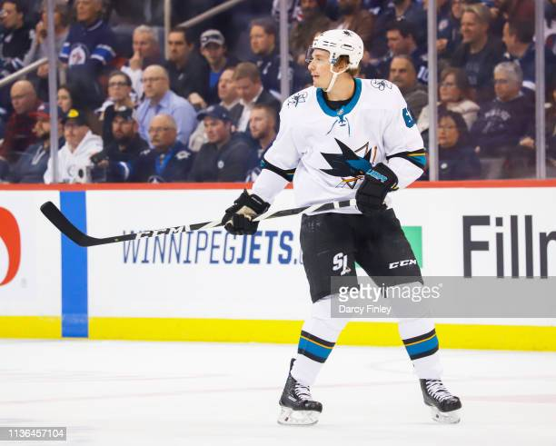 Justin Braun of the San Jose Sharks keeps an eye on the play during first period action against the Winnipeg Jets at the Bell MTS Place on March 12...