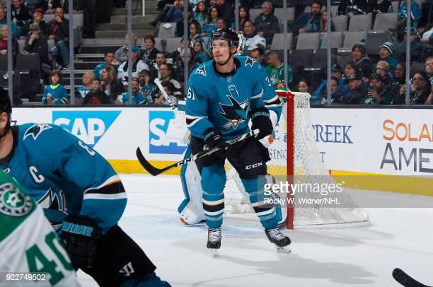 Justin Braun of the San Jose Sharks skates against the Dallas Stars at SAP Center on February 18 2018 in San Jose California