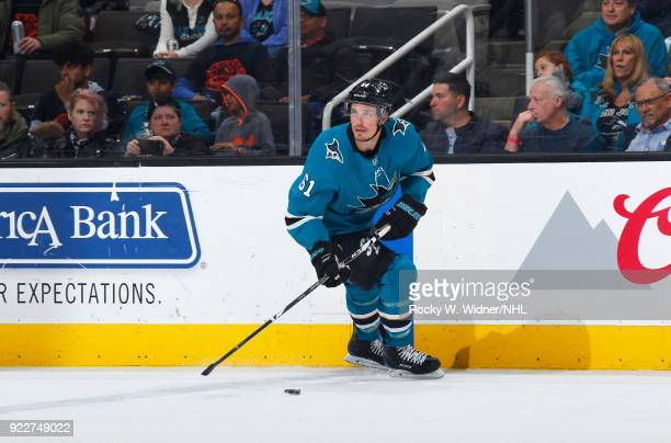Justin Braun of the San Jose Sharks skates with the puck against the Dallas Stars at SAP Center on February 18 2018 in San Jose California
