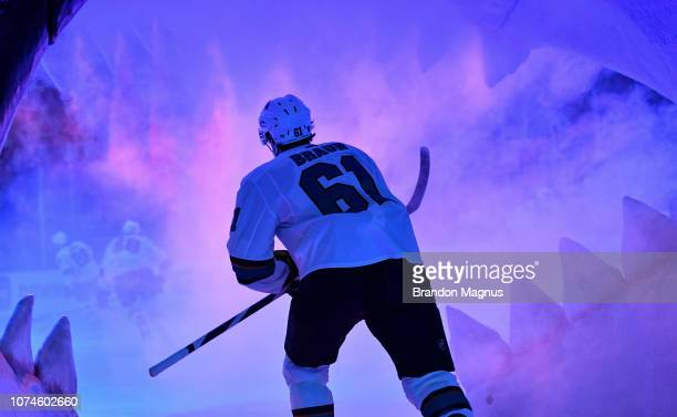 Justin Braun of the San Jose Sharks takes the ice through the Shark Head against the Los Angeles Kings at SAP Center on December 22 2018 in San Jose...