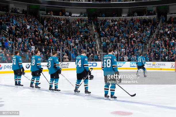Justin Braun Timo Meier Joe Pavelski MarcEdouard Vlasic and Melker Karlsson of the San Jose Sharks line up for the national anthem of the game...