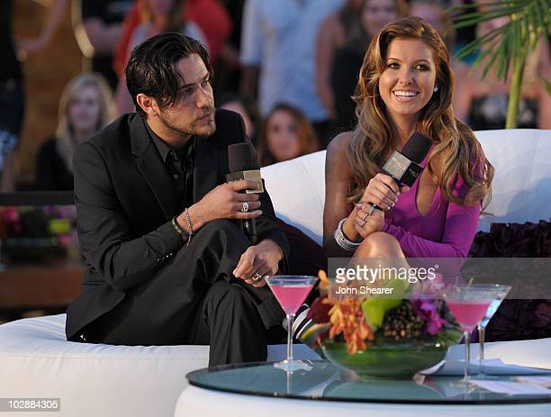 Justin Brescia and Audrina Patridge speak onstage at MTV's 'The Hills Live A Hollywood Ending' Finale event held at The Roosevelt Hotel on July 13...