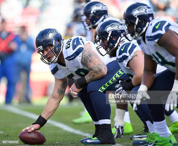 Justin Britt and the offense of the Seattle Seahawks lines up against the San Francisco 49ers defense during the second quarter of their NFL football...