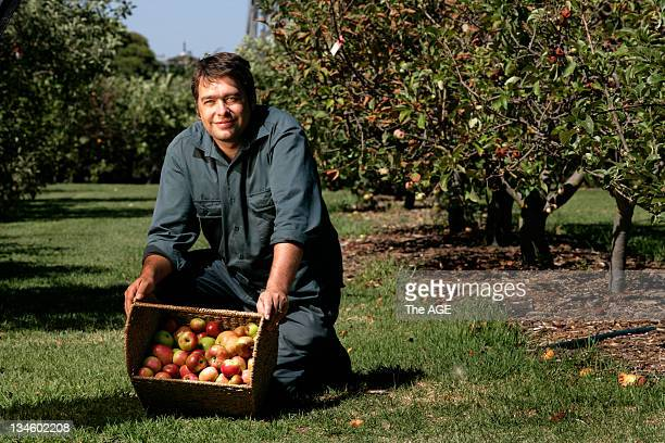 Justin Buckley with his apples at the Ripponlea Estate 19 February 2010
