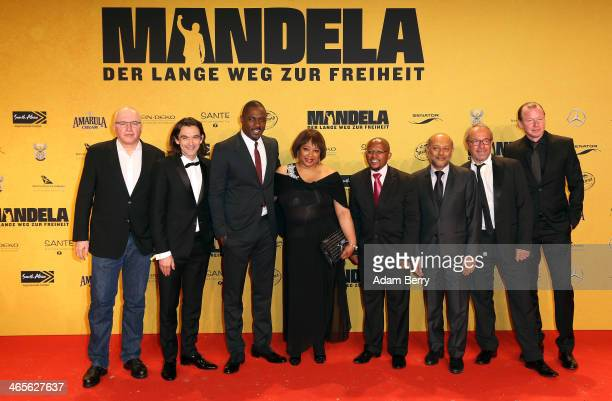 Justin Chadwick , Idris Elba, Zindzi Mandela and Anant Singh arrive for the premiere of the film 'Mandela: Long Walk to Freedom' with the production...