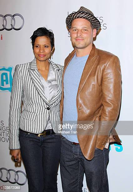 Justin Chambers and Keisha Chambers arrive at the 16th Annual Los Angeles Antiques Show held at The Barker Hanger on April 13, 2011 in Santa Monica,...