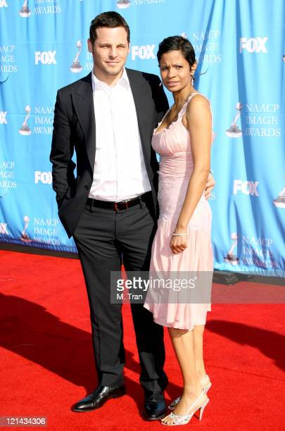 Justin Chambers and Keisha Chambers during 38th Annual NAACP Image Awards Arrivals at Shrine Auditorium in Los Angeles California United States