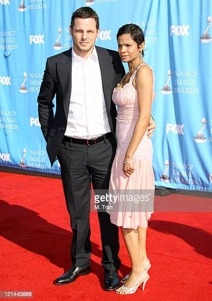 Justin Chambers and Keisha Chambers during 38th Annual NAACP Image Awards - Arrivals at Shrine Auditorium in Los Angeles, California, United States.