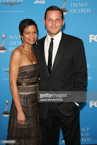 Justin Chambers and Keisha Chambers during The 37th Annual NAACP Image Awards Arrivals at Shrine Auditorium in Los Angeles California United States