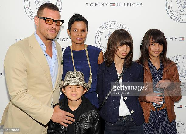 Justin Chambers and Keisha Chambers with children arrive for Tommy Hilfiger and Lisa Birnbach Celebration of Prep World on June 9 2011 in Los Angeles...
