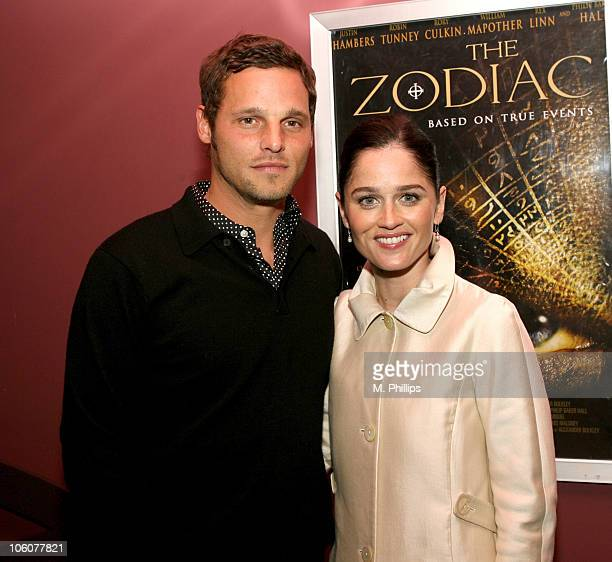 Justin Chambers and Robin Tunney during Zodiac Los Angeles Premiere at Sunset 5 in West Hollywood CA United States