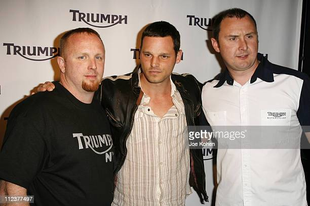 Justin Chambers Bill Shelton Triumph NYC Dealership Manager and Triumph CEO Mark Kennedy