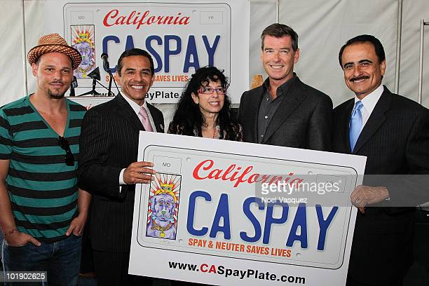Justin Chambers Los Angeles Mayor Antonio Villaraigosa Judie Mancuso Pierce Brosnan and Richard Alarcon attend the launch event for The California...
