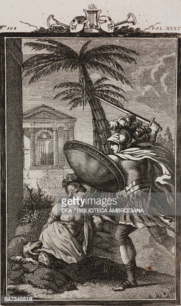 Justin charging on the tiger while Marianna lies unconscious on the ground engraving by Antonio Viviani from a drawing by G Steneri from Giustino Act...