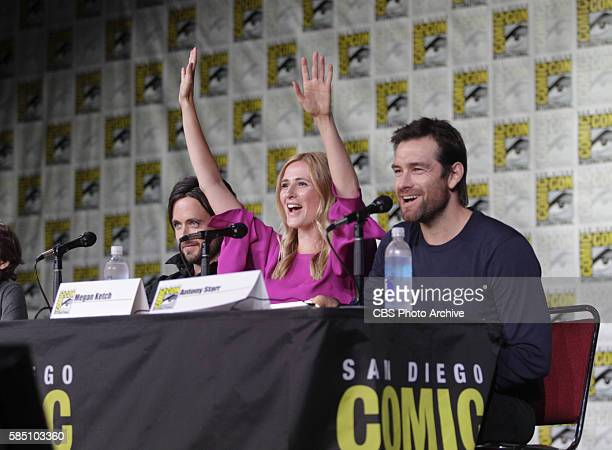 Justin Chatwin Megan Ketch and Antony Starr of the CBS series AMERICAN GOTHIC during the panel discussion at COMICCON 2016 in San Diego California