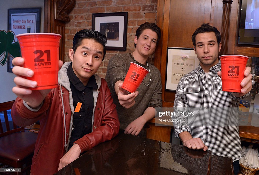 Justin Chon, Miles Teller, and Skylar Astin attend the '21 & Over' Press Call at Playwrights Tavern on February 28, 2013 in New York City.