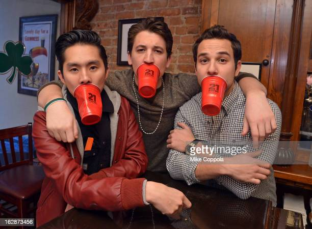 Justin Chon Miles Teller and Skylar Astin attend the 21 Over Press Call at Playwrights Tavern on February 28 2013 in New York City