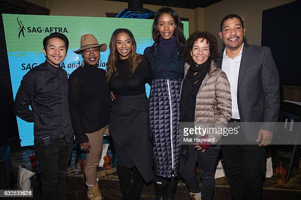 Justin Chon Taj Paxton Kimberly Steward Funa Maduka Stephanie Allain and David White pose for a photo after the Creating Content From the Margins to...