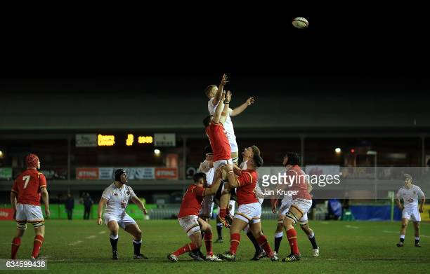 Justin Clegg of England competes for the lineout ball during the U20 Six Nations match between Wales U20 and England U20 at Eirias Stadium on...