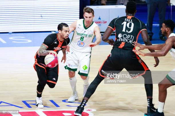Justin Cobbs of Le Mans and Heiko Schaffartzik of Nanterre during the Leaders Cup match between Le Mans and Nanterre 92 at Disneyland Resort Paris on...
