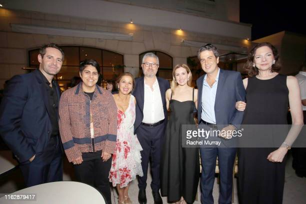Justin Coit Moj Mahdara Karine Ohana Laurent Ohana Katherine Power Ariel Ohana and Aimee Troyen attend the Ohana Co LA Summer Party at the Peninsula...