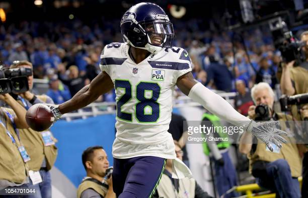 Justin Coleman of the Seattle Seahawks celebrates his interception against the Detroit Lions during the fourth quarter at Ford Field on October 28...