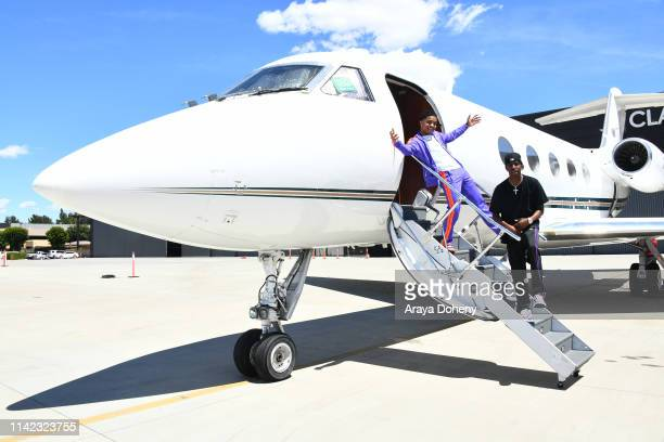 Justin Combs and Christian Combs fly on a private jet with Justin Combs Friends Fly Into Coachella With VOMOS and Cîroc on April 12 2019 in Van Nuys...