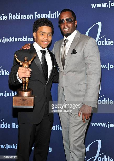 Justin Combs and ROBIE Achievement in Industry Award recipient Sean Diddy Combs attend the 2011 Jackie Robinson Foundation Awards Gala atThe...
