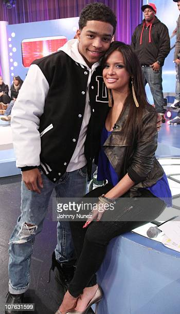 Justin Combs and Rocsi on the set of BET's '106 Park' at BET Studios on December 15 2010 in New York City