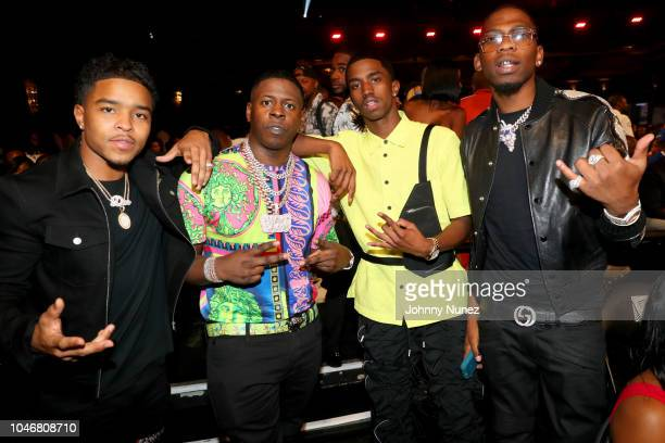 Justin Combs Blac Yongsta Christian Combs and Blocboy JB are seen backstage during the BET Hip Hop Awards 2018 at Fillmore Miami Beach on October 6...