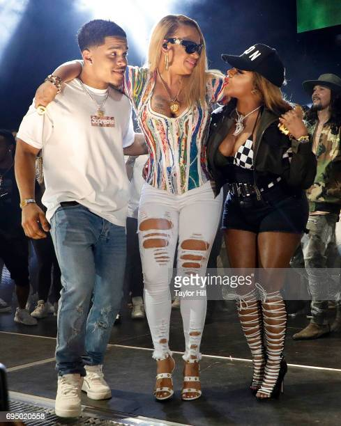 Justin Combs Faith Evans and Lil Kim perform during the 2017 Hot 97 Summer Jam at MetLife Stadium on June 11 2017 in East Rutherford New Jersey