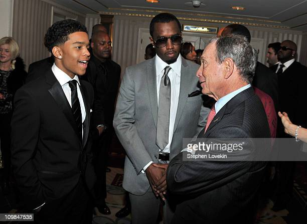 Justin Combs Sean Diddy Combs and New York City Mayor Michael Bloomberg attend the 2011 Jackie Robinson Foundation awards gala atThe Waldorf=Astoria...