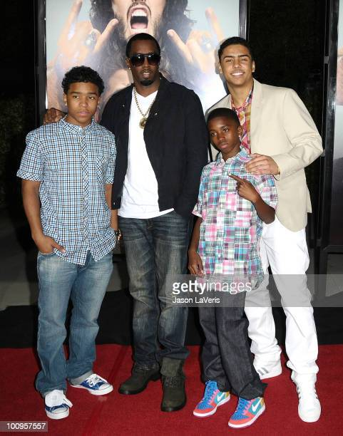 Justin Combs Sean 'Diddy' Combs Christian Combs and Quincy Jones Brown attend the premiere of Get Him To The Greek at The Greek Theatre on May 25...