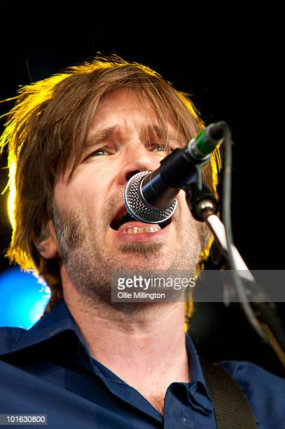 Justin Currie performs on stage on the first day of Wychwood Festival at Cheltenham Racecourse on June 4 2010 in Cheltenham England
