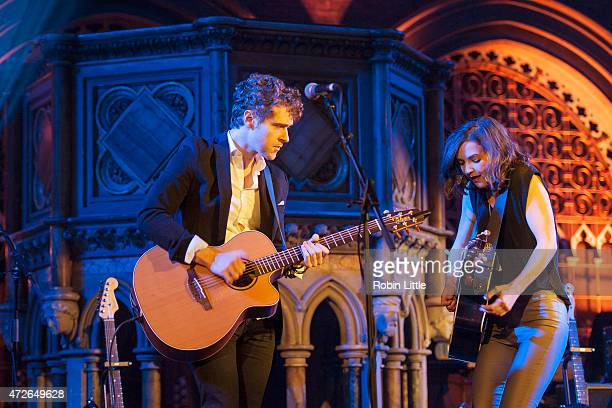 Justin Davis and Sarah Zimmerman of Striking Matches perform at the Union Chapel on May 8 2015 in London United Kingdom