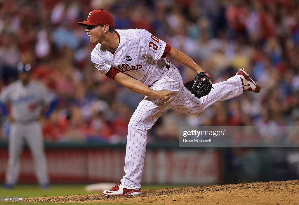 Justin De Fratus #30 of the Philadelphia Phillies delivers a pitch in the sixth inning against the Los Angeles Dodgers at Citizens Bank Park on August 4, 2015 in Philadelphia, Pennsylvania.