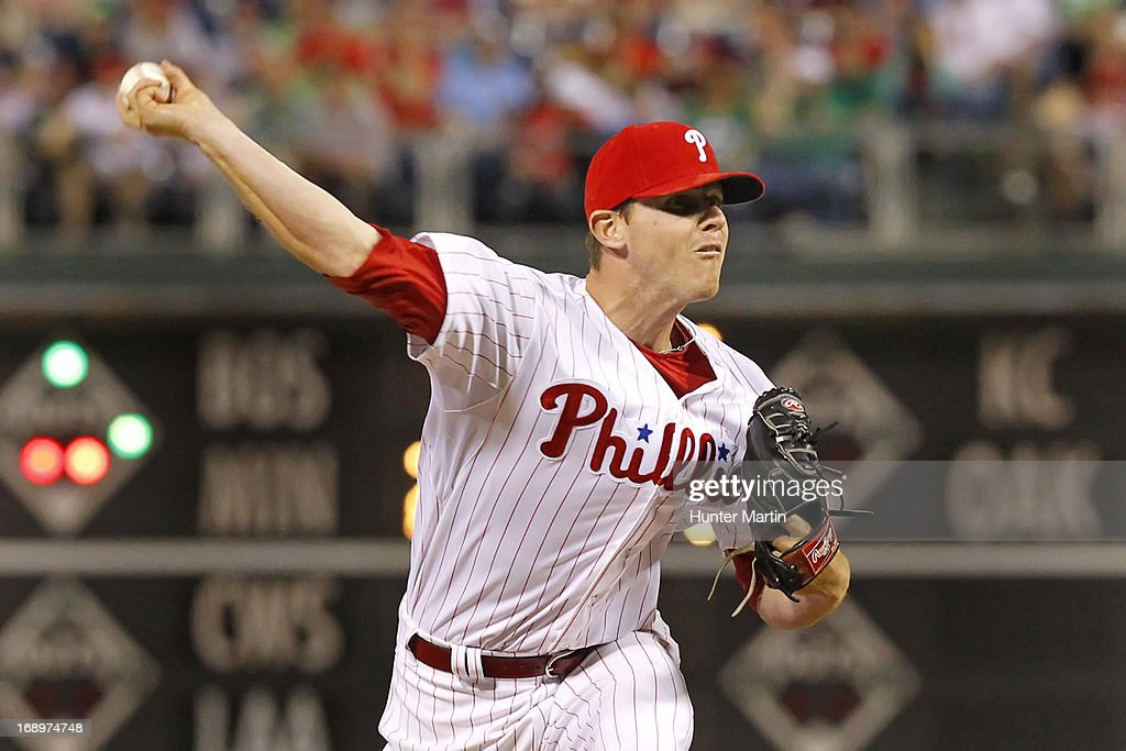 Justin De Fratus #79 of the Philadelphia Phillies throws a pitch during a game against the Cincinnati Reds at Citizens Bank Park on May 17, 2013 in Philadelphia, Pennsylvania. The Phillies won 5-3.