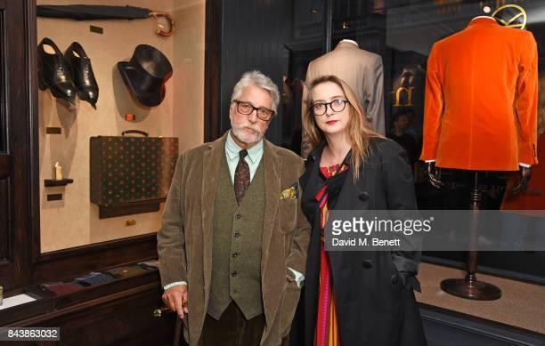 Justin de Villeneuve and Daisy de Villeneuve attend the launch of the 'Kingsman' shop on St James's Street in partnership with MR PORTER MARV...