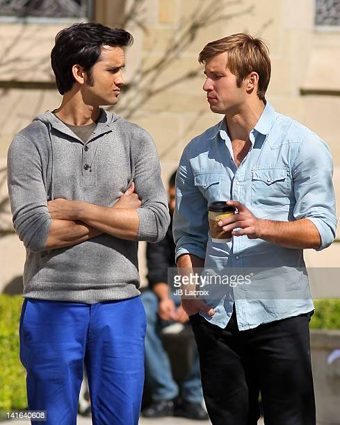 Justin Deeley and Michael Steger are seen on location for '90210' on March 20 2012 in Los Angeles California