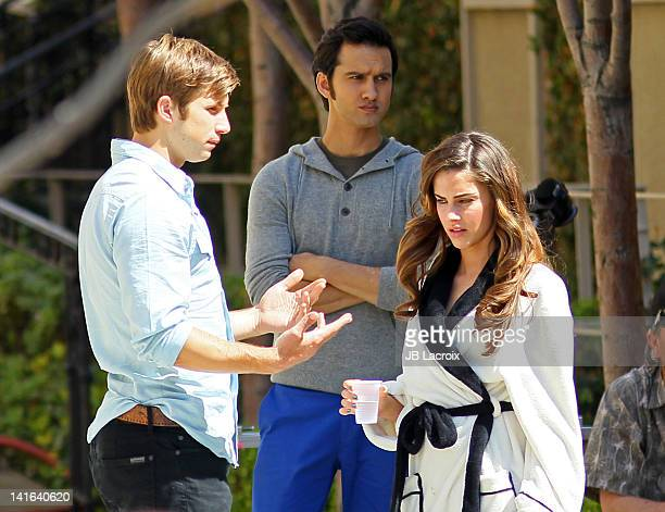 Justin Deeley Jessica Lowndes and Michael Steger are seen on location for '90210' on March 20 2012 in Los Angeles California