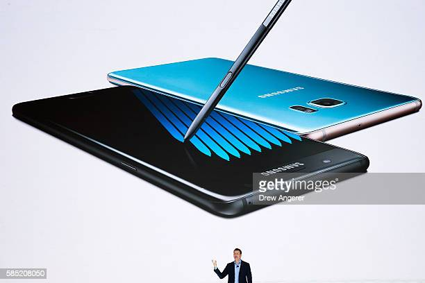 Justin Denison senior vice president of product strategy at Samsung speaks during a launch event for the Samsung Galaxy Note 7 at the Hammerstein...